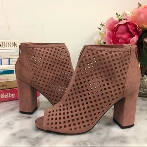 Faux Suede Cut-Out Peep-Toe Booties in Pink